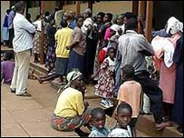 Children queuing outside school