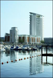 Graphic of planned Swansea Marina tower