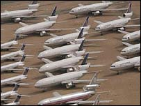 Aeroplanes parked in the desert