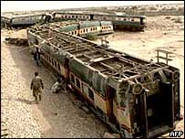 A derailed Pakistani train, 26 Sep 2002