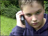 Boy on a mobile phone