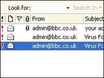 Screengrab of e-mail worm