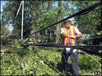 Emergency worker deals with damaged power line