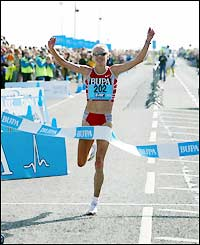 Paula crosses the finish line in South Shields