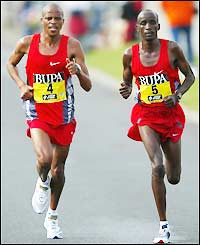 South Africa's Hendrik Ramaala (left) and Kenya's Jackson Koech battle it out for the men's title