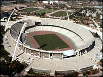 The Olympic Stadium in Athens is under construction