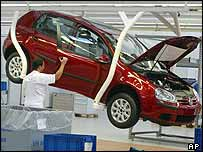 VW Golf production line in Germany