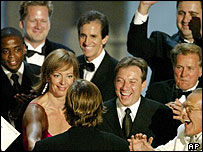 Cast of The West Wing celebrate at the 2003 Emmys
