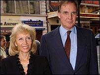 Harris' widow Elizabeth with new husband Jonathan Aitken