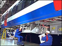 Engineers fixing Alstom trains
