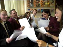 students getting exam results