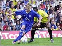 Damien Duff in action for Chelsea at Watford