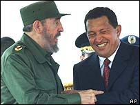 Hugo Chavez (right) with Cuban leader Fidel Castro