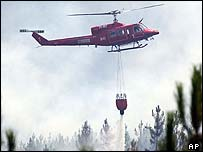 Helicopter figthing forest fires in Portugal