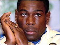 Frank Bruno stares at the camera