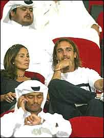 Gabriel Batistuta watches football in Qatar