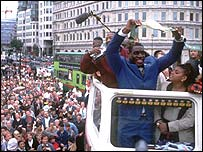 Bruno gets a hero's reception after become world heavyweight champion in 1995