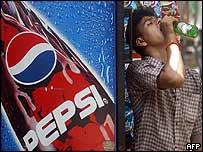 Man drinking bottle of lemonade next to Pepsi machine