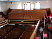 The interior of Pisgah Chapel