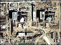 Satellite image of nuclear power reactor in Bushehr, Iran