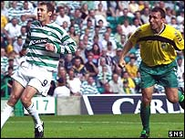 Chris Sutton watches as Darius Gvildys' header flies into the net