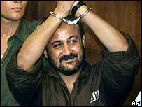 Fatah politician Marwan Barghouti who faces charges of murder in court in Tel Aviv