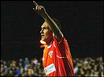 Scott Taylor celebrates scoring for Blackpool against Birmingham