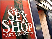 A sex shop sign