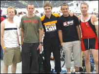 The BBC radio newsroom team before the London Triathlon