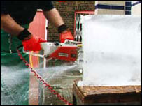 Cutting ice with sharp power tools