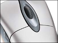 Close-up of Microsoft mouse