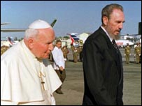 Fidel Castro with Pope John Paul II on his 1998 visit to Cuba