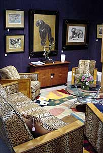Leopardskin chairs and panther paintings