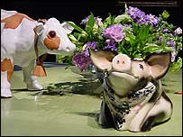 Ceramic cow and pig