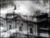 Allende's palace in ruins after the military coup