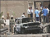 Destroyed car outside the Jordanian embassy