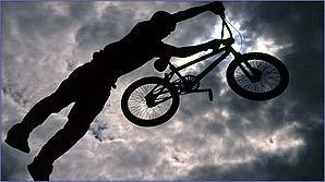 A dirt jumper flies through the air in spectacular fashion