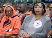 Yolanda King (right), Martin Luther King Jnr's daughter