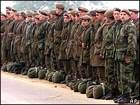 Pristina army corps soldiers stand to attention