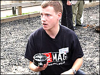 Stuart Hughes with landmine
