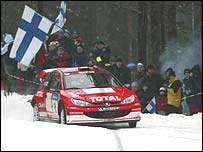 Marcus Gronholm on his way to winning the Rally of Sweden