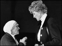 Mother Teresa with Princess Diana