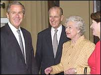 George Bush, Prince Philip, the Queen and Laura Bush at the palace in July 2001