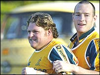 Matt Dunning (left) and Stirling Mortlock train before the World Cup