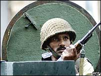 Indian security force member in Jammu and Kashmir