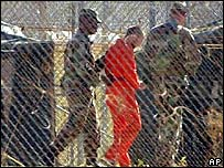 Guards and a detainee at Guantanamo Bay in 2002
