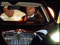 Pope John Paul II in car