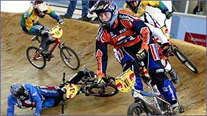 BMX racers hare round a custom-built track