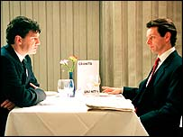 David Morrissey as Gordon Brown and Michael Sheen as Tony Blair in The Deal