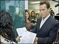 Arnold Schwarzenegger registers as a candidate